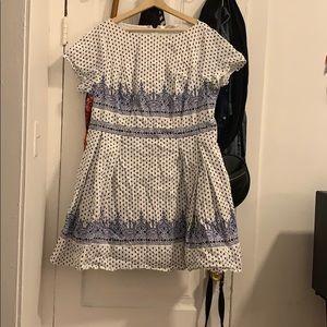 Eshakti white cotton dress with blue pattern